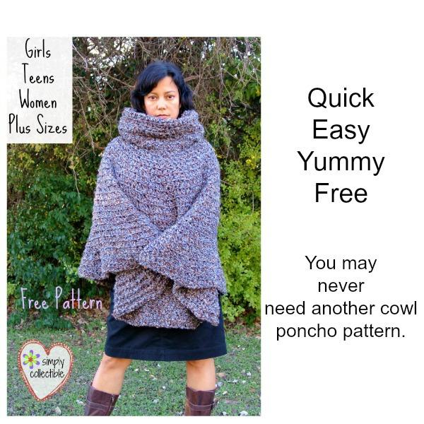 Cowl Hooded Poncho Free Crochet Poncho Pattern Girls