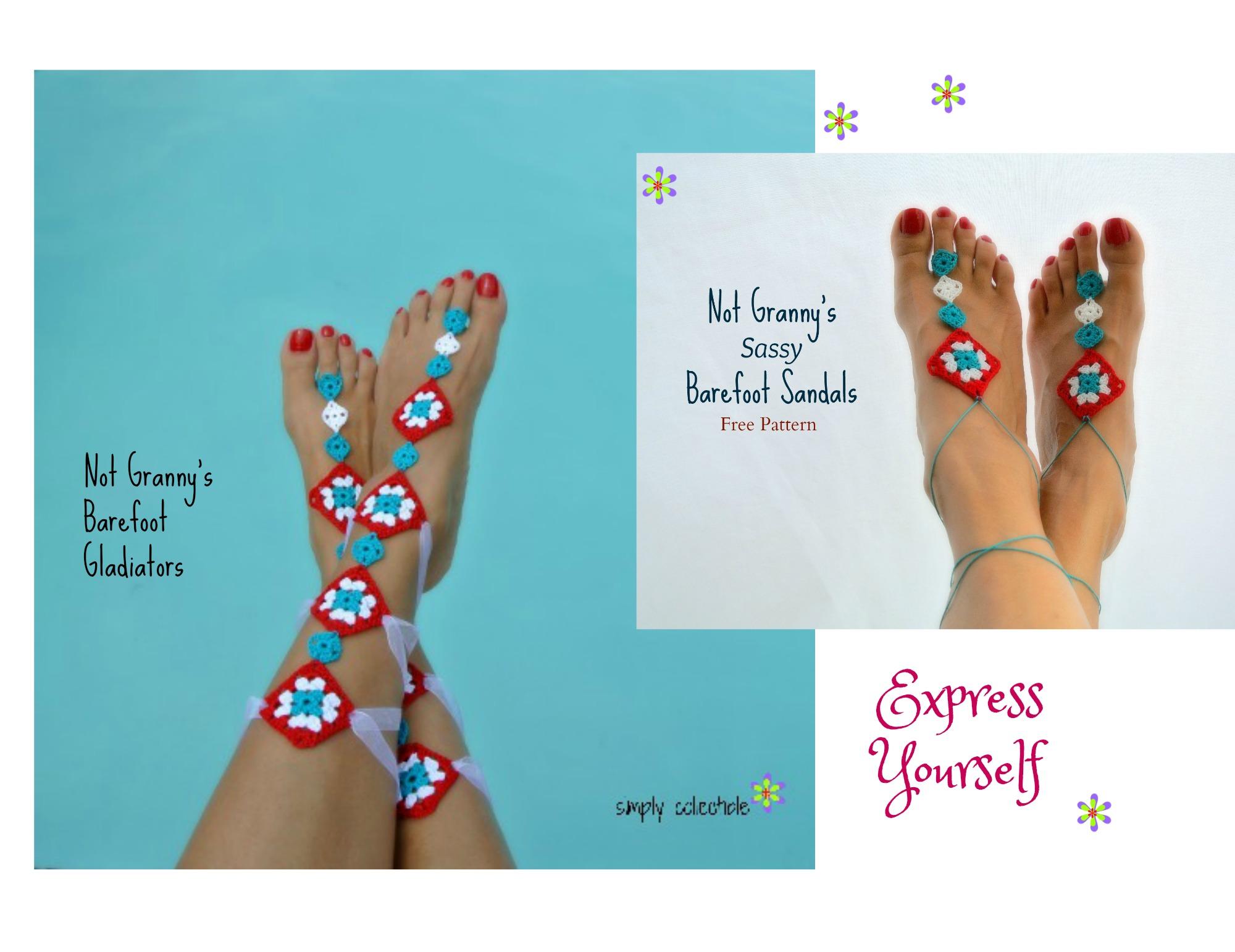 Express Yourself Summer Fun Free Barefoot Sandals Crochet