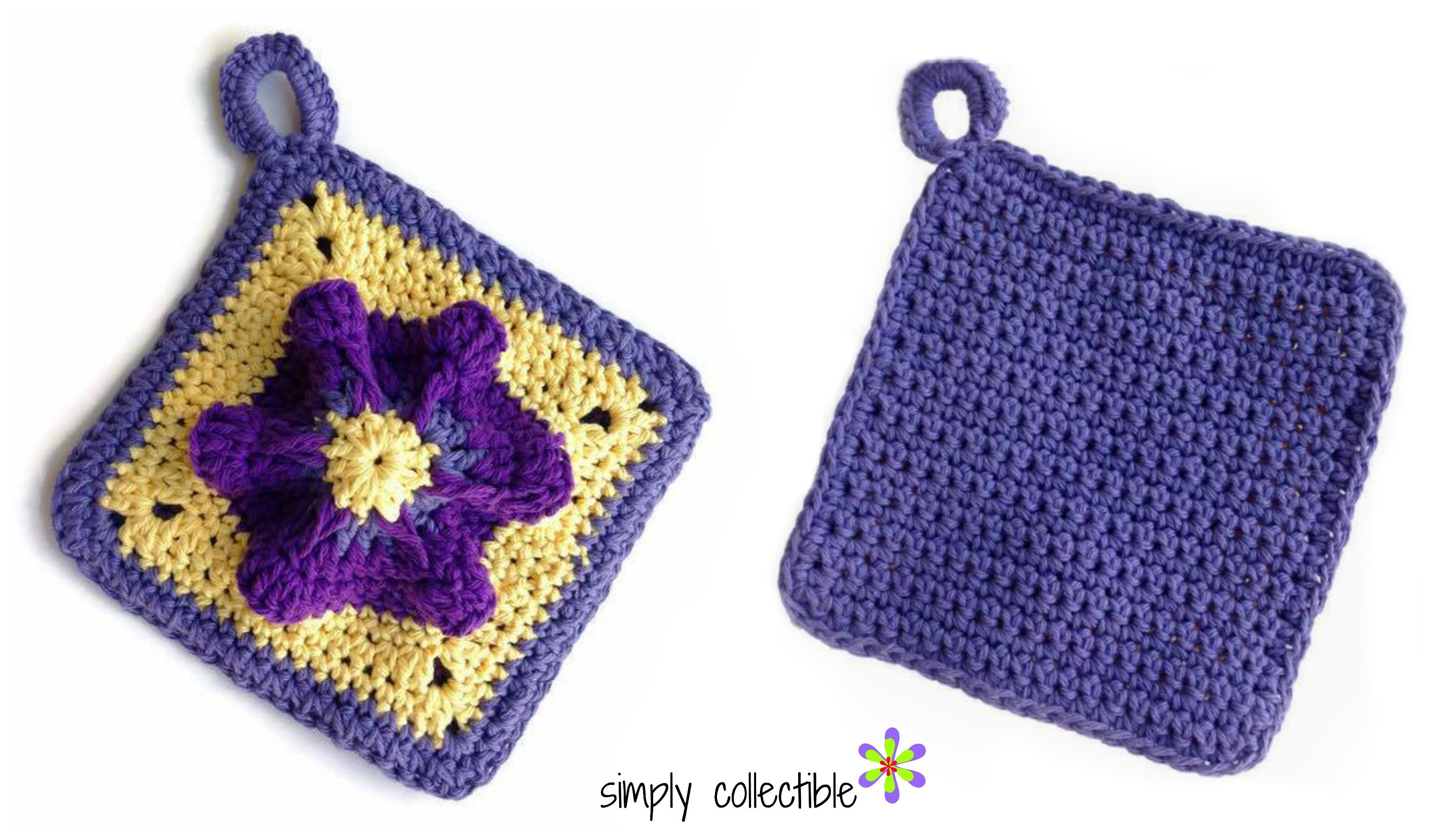 Penelope\'s Pretty Petunia Potholder crochet pattern • Simply Collectible