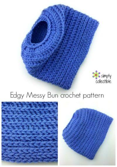 Edgy Messy Bun Hat 2-in-1 crochet pattern & tutorial – Full Beanie, too! (2 sizes)
