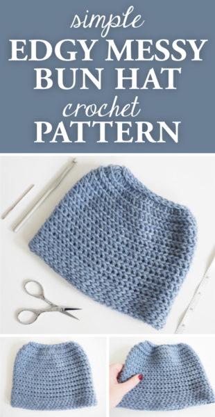 Simple Edgy Messy Bun Hat Crochet Pattern