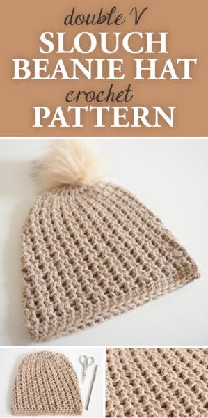 Double V Slouch Beanie Hat Crochet Pattern