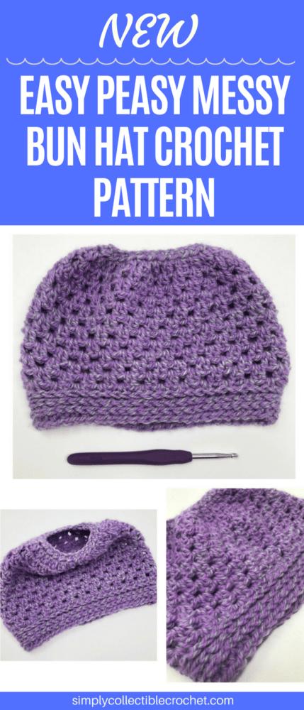 Easy Peasy Messy Bun Crochet Hat Pattern • Simply Collectible Crochet f3ad4551e86