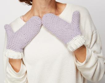 Moss Stitch Mittens Crochet Pattern