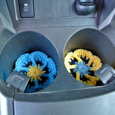 Flower Cup Holder Liner or Coaster Free Crochet Pattern