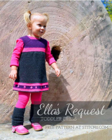 24 patterns in this Crochet Dress Roundup compiled by SimplyCollectibleCrochet.com | Ella's Request Toddler Dress