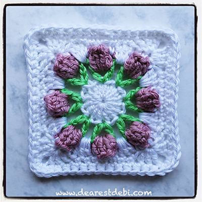 22 Granny Square Projects | Flower Bud Granny Square by Dearest Debi Patterns