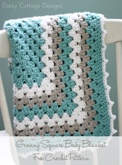 22 Granny Square Projects | Granny Square Baby Blanket by Daisy Cottage Designs