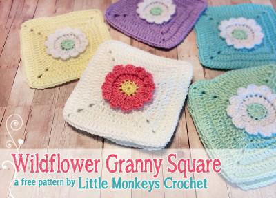 22 Granny Square Projects | Wildflower Granny Square Crochet Pattern by Little Monkeys Crochet