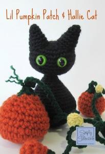 Lil Pumpkin Patch & Hallie Cat Amigurumi by Celina Lane, SimplyCollectibleCrochet.com