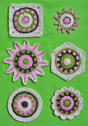 6 Motif #crochet patterns - Granny Square, Hexagon, Round, Floral