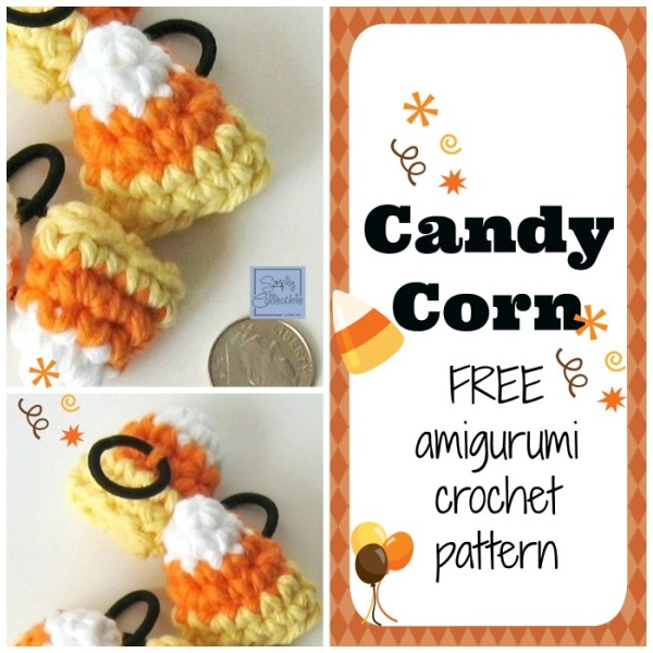 Candy Corn Amigurumi Hair Ties crochet pattern and tutorial by SimplyCollectibleCrochet.com