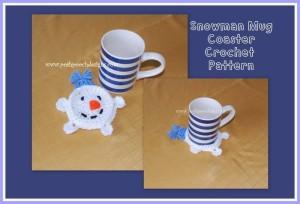 CrochetStreet.com | Snowman Mug Coaster Crochet Pattern