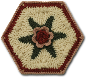 Malmaison Rosy Hexagon Motif #crochet pattern