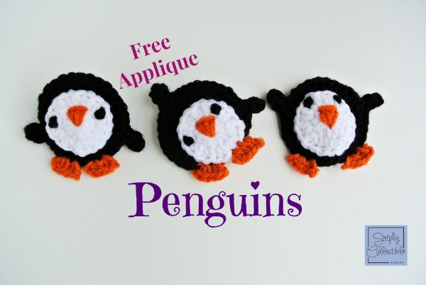 Free Penguins #Crochet Applique Pattern by SimplyCollectibleCrochet.com