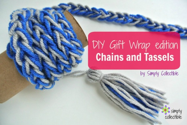 Wrap It up - DIY Gift Wrap - Chains & Tassels by Celina Lane, Simply Collectible #diy @FaveCrafts @RedHeartYarns @SCCelina