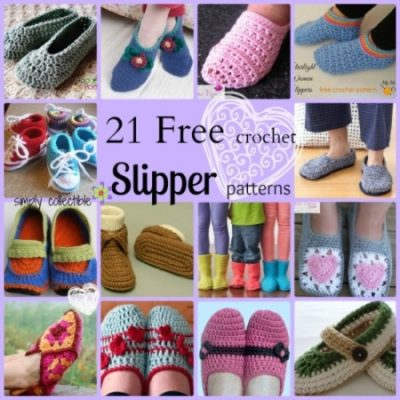 21 Awesome Free Slipper #Crochet Patterns compiled by Simply Collectible
