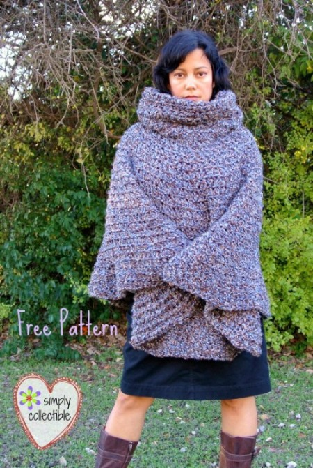 97751d69f9c5 Cowl Hooded Poncho - free crochet poncho pattern  Girls