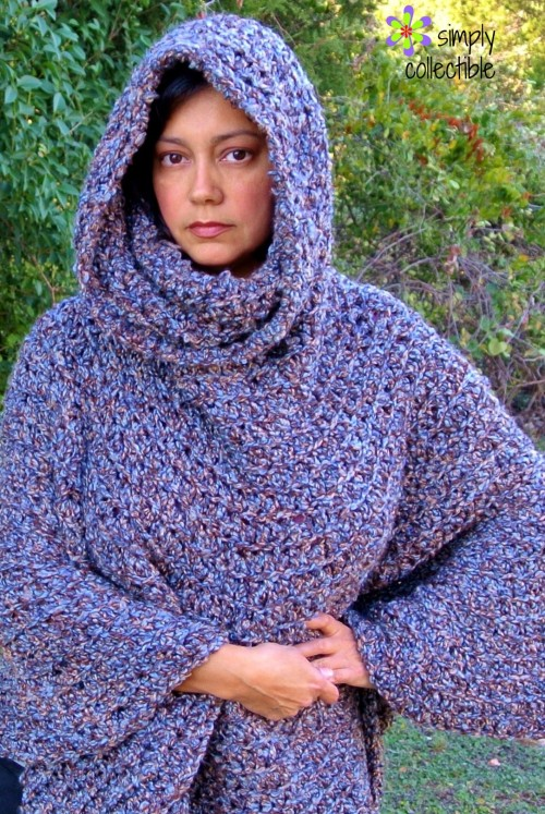 Simply Collectible's Free Cowl Hooded Crochet Poncho Pattern | You may never need another Cowl Poncho. Makes for girls, teens, women, and plus sizes