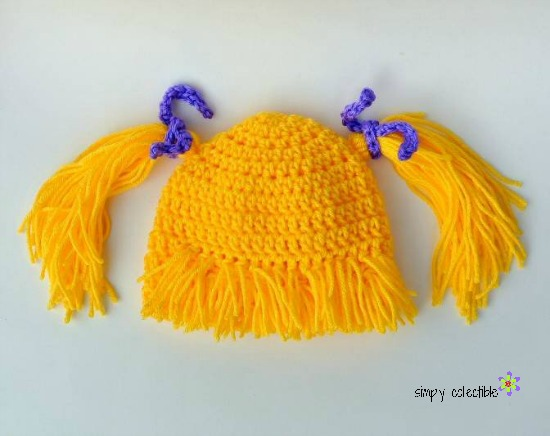 Free #crochet Wig Hat tutorial - Makes bangs and pigtails for Infant, Child, and Adult | Simply Collectible