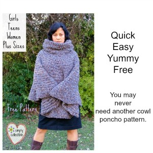 Cowl Hooded Poncho - free crochet poncho pattern [Girls ...
