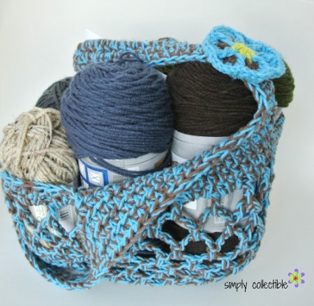 Sturdiest Ever Market Bag crochet pattern in hot blue & espresso holding multiple skeins of yarn! by Celina Lane, Simply Collectible