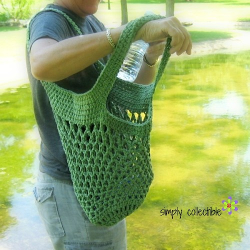 Sturdiest Ever Market Bag crochet pattern in olive on a camping trip by Celina Lane, Simply Collectible