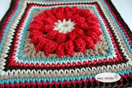 Whimsical Penelope's 12 Square, Free #crochet pattern by Celina Lane, Simply Collectible - bobble stitch
