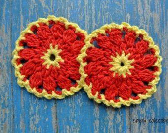 Firewheel Coaster or Scrubbie free crochet pattern