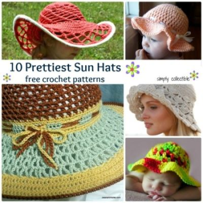 10 Pretty Sun Hat free #crochet patterns | SimplyCollectibleCrochet.com