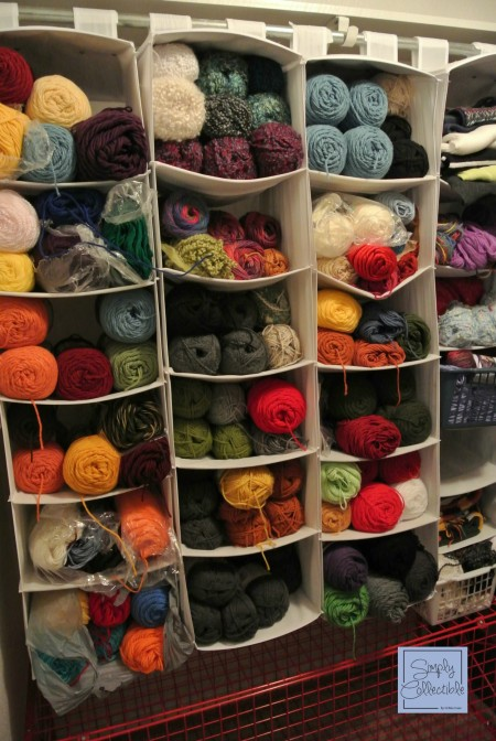 Frugal Organizing - Sweater, Clothes, and Closet Organizers can contain multiple skeins with stackabilty and ease! - SimplyCollectibleCrochet.com
