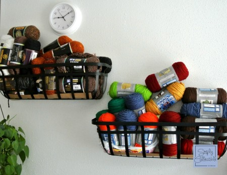 Frugal Organizing - Wall Organizers to keep them off the ground - SimplyCollectibleCrochet.com