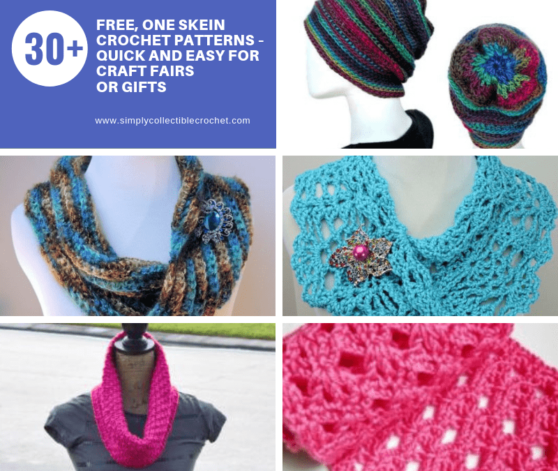 30+ Free, One Skein crochet patterns – Quick and Easy for Craft Fairs or Gifts
