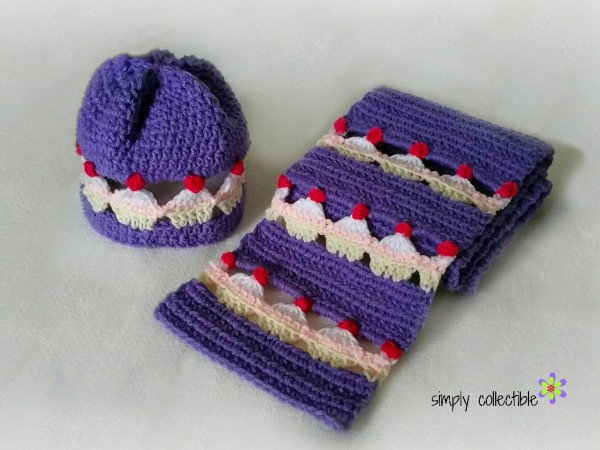 Cupcake Lovers Beanie & Scarf Set free crochet pattern by SimplyCollectibleCrochet.com og