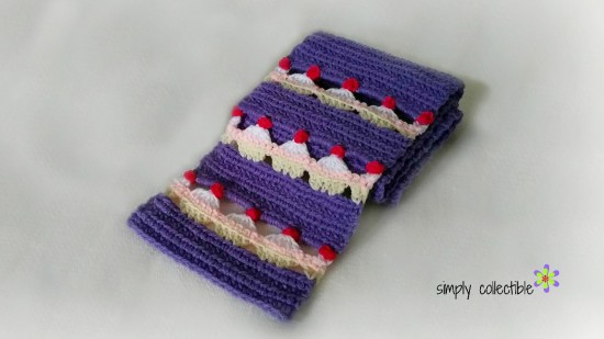 Cupcake Lovers Scarf free crochet pattern by SimplyCollectibleCrochet.com