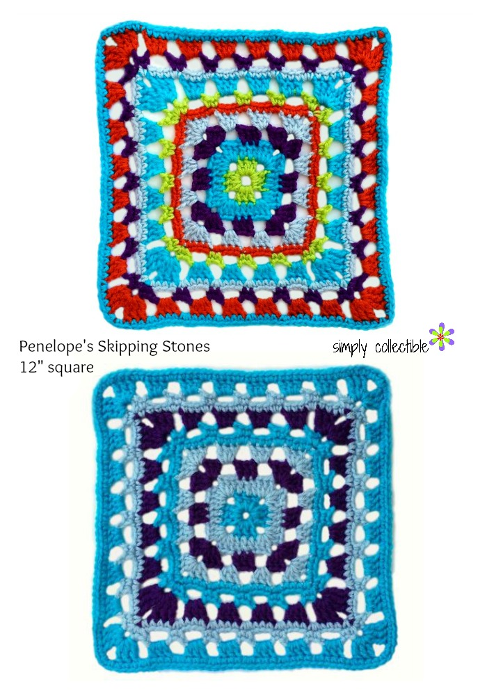 Penelope's Skipping Stones 12 square by SimplyCollectibleCrochet.com - free crochet pattern