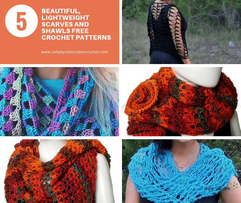 5 Beautiful, Lightweight Scarves and Shawls free crochet patterns