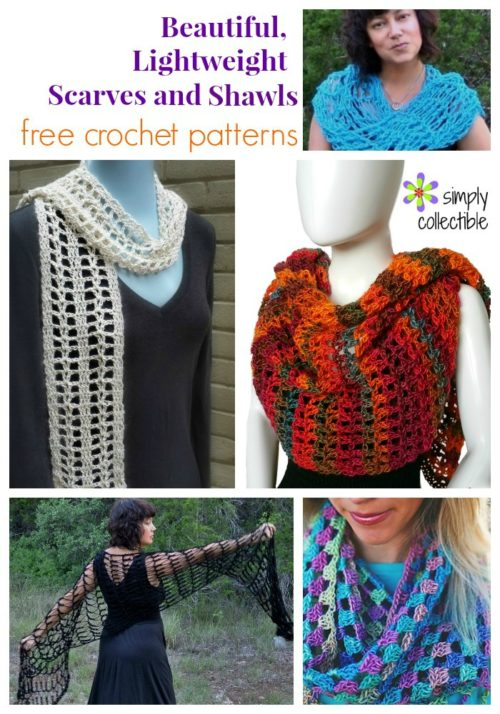 Beautiful Lightweight Scarves and Shawls free crochet patterns from SimplyCollectibleCrochet.com