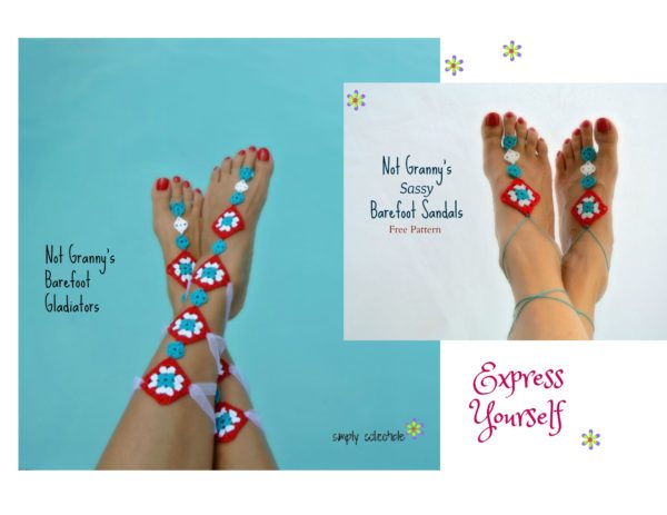 Free Barefoot Sandals crochet patterns by Simply Collectible Crochet