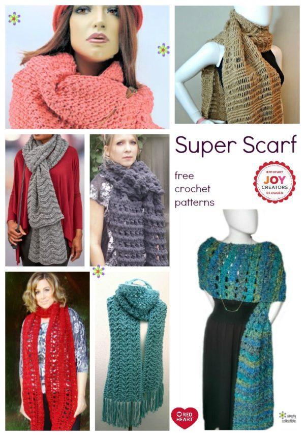 10 Free & Fabulous Super Scarf crochet patterns from the Joy Creators