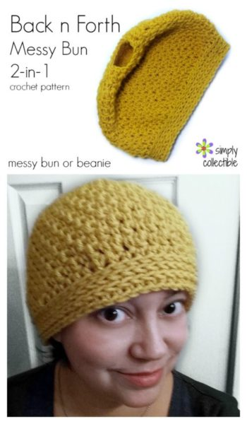 Back n Forth Messy Bun Hat crochet pattern and Beanie, 2-in-1