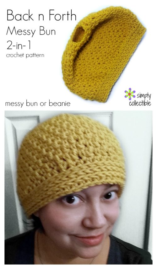 Back n Forth Messy Bun crochet pattern, plus instruction on how to make it a beanie | 2-in-1 by Celina Lane, SimplyCollectibleCrochet.com