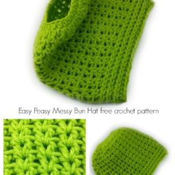 Easy Peasy Messy Bun Hat crochet pattern 2-in-1 - full beanie, too!