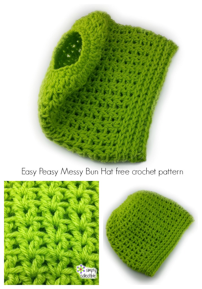 Easy Peasy Messy Bun Hat crochet pattern 2-in-1 – full beanie, too!