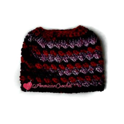 Everyday Kisses Messy Bun Hat, free crochet pattern