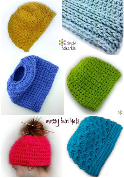 Messy Bun Hat crochet patterns | SimplyCollectibleCrochet.com