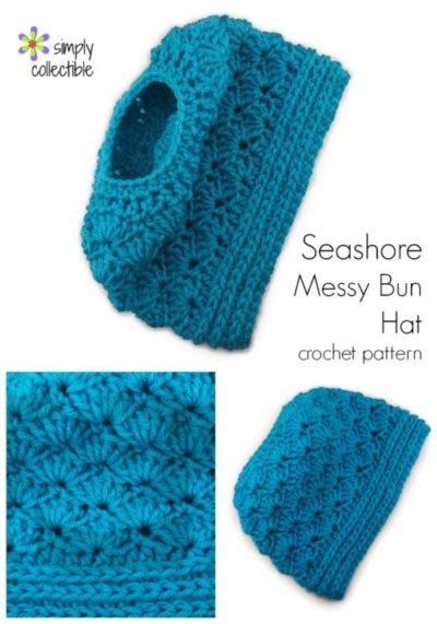 Seashore Messy Bun Hat 2-in1