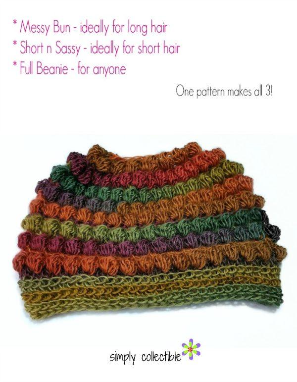 Bibbity Bobbity 3-in-1 Messy Bun Hat plus Short n Sassy (includes full beanie)