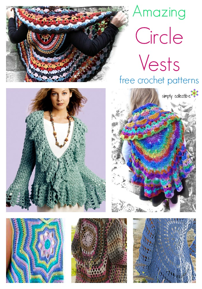 12 Amazing Free Circle Vest crochet patterns | SimplyCollectibleCrochet.com
