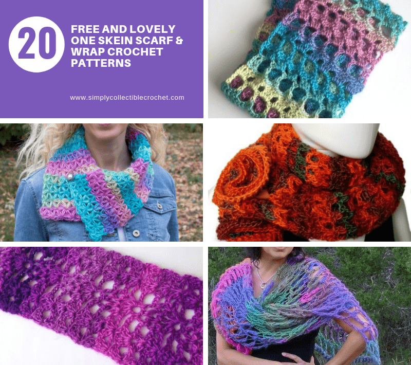 20 FREE and Lovely One Skein Scarf & Wrap crochet patterns